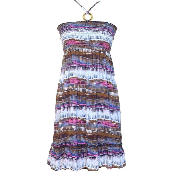 Pink Purple & Brown Print Halter Smocked Tube Sun Dress ($14) ❤ liked on Polyvore featuring dresses, brown, halter top, pink halter top, summer sun dresses, halter sundress and summer dresses