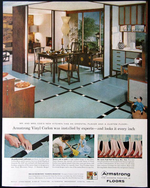 1959 Armstrong Vinyl Floor Ads Retro Asian Kitchen Dining Room Decor 1950s Midcentu Kitchen Decor Modern Home Improvement Projects Armstrong Vinyl Flooring