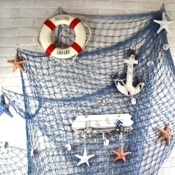 Blue white fishing net wall bar decoration ceiling dollarfish hangings