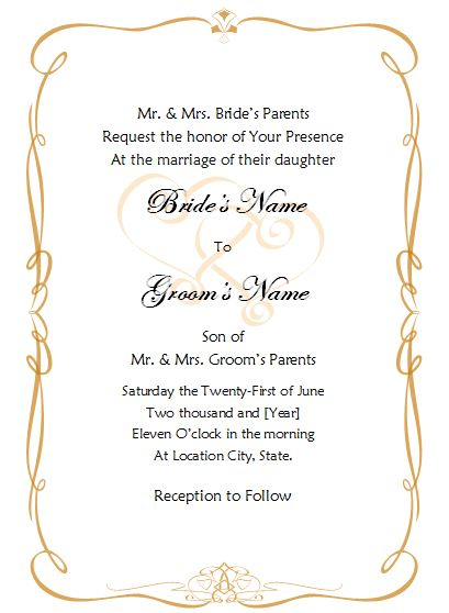 Reception Invitation Templates and the Considerations