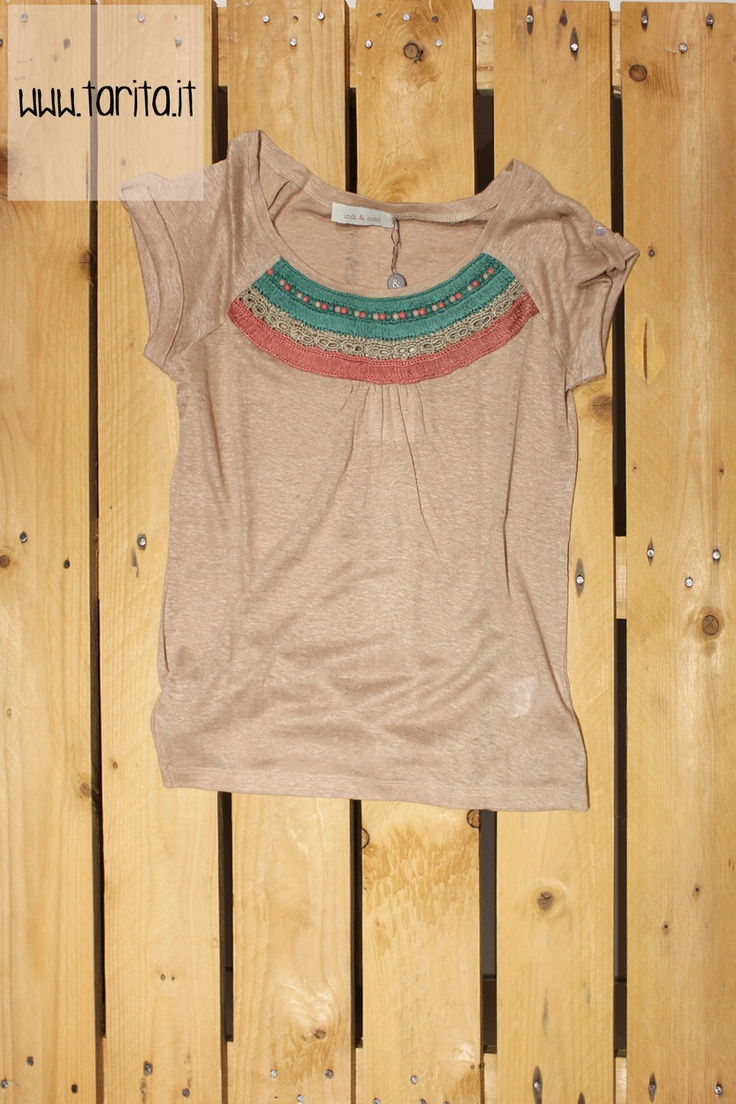 Tarita S/S 2013. Indi & Cold, linen t shirt with beaded detail.