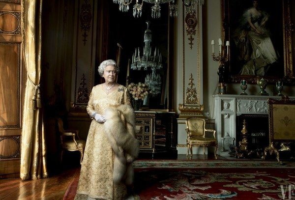 The Queen in the White Drawing Room at Buckingham Palace, 2007.