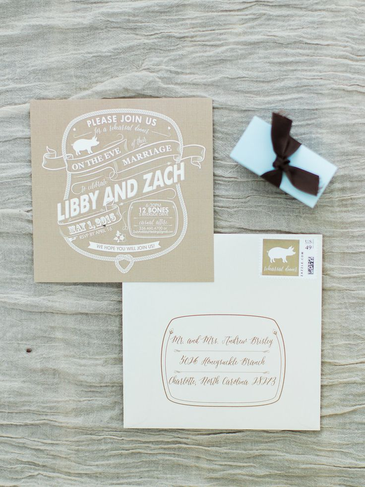 how to address wedding invitations inside envelope%0A Rustic barbeque rehearsal dinner invitations with a rope border and pig   The envelopes even had