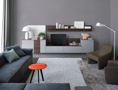 Sestava nábytku Open, možnost kombinace různých rozměrů modulů, povrchová úprava matný lak a struktura dřeva tmavý dub, dostupná také varianta ve vysokém lesku, vyrábí Jesse