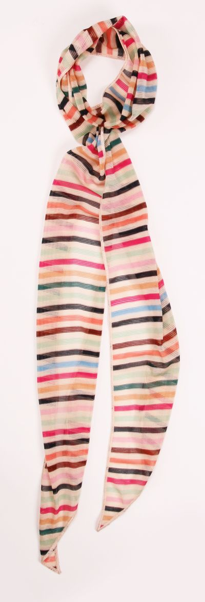 Missoni long multicolored striped knit scarf- Given to me by Mr. Missoni himself while on a trip to Italy! This fun, feminine scarf is definitely a staple piece that every woman needs.