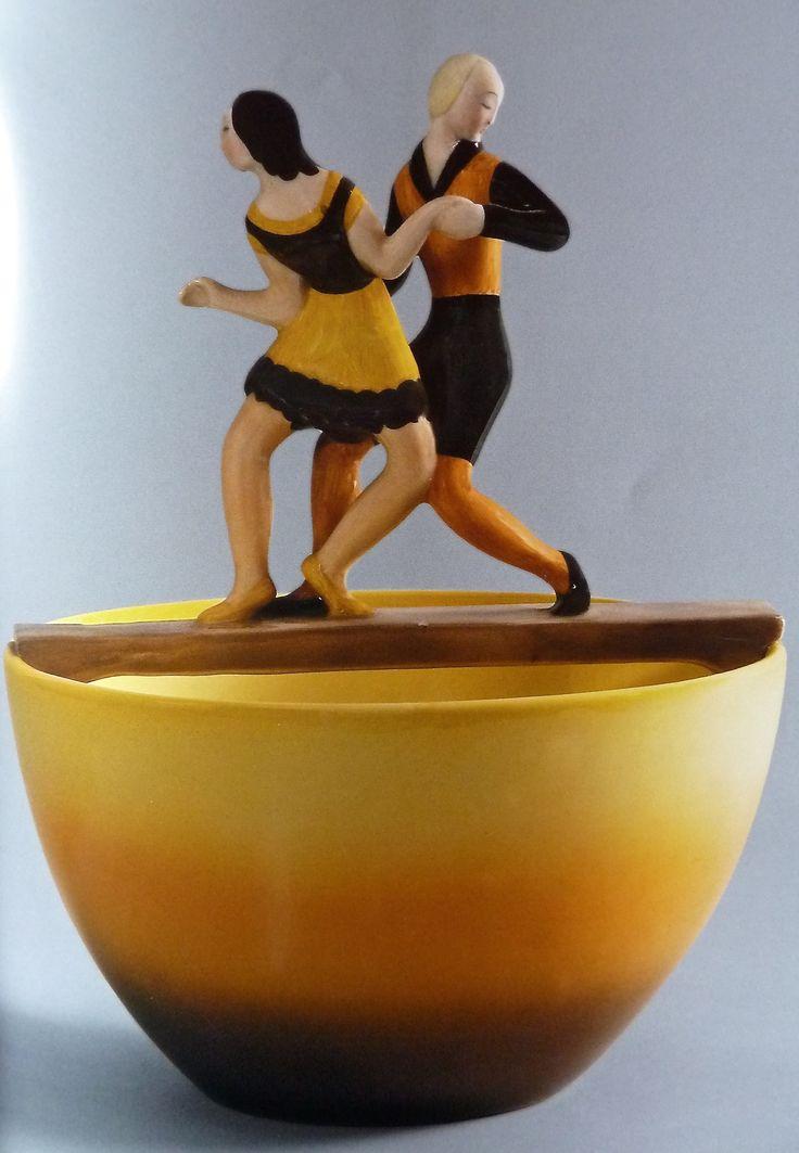 'Dancing on the bridge' ceramic  bowl by Mario Sturani !930/31, Lenci, Turin, Italy.