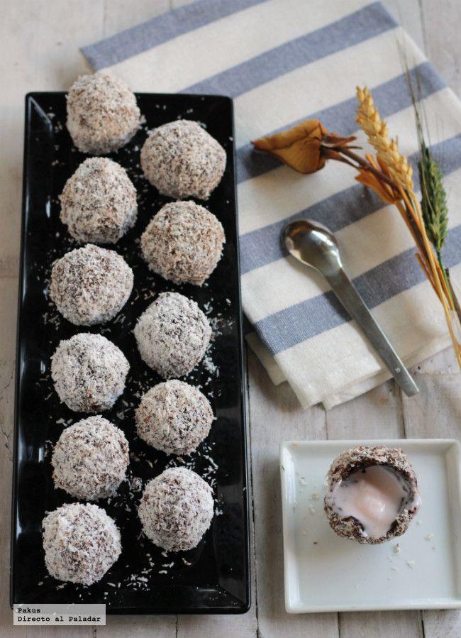 Trufas de chocolate, fresa y coco para el Día de la Madre. Receta sencilla de trufas con fotos paso a paso del proceso de elaboración y...