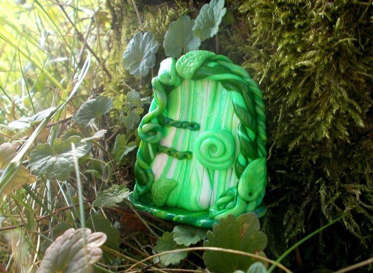 Feentür wetterfest Deko innen & außen Ranken Blätter Elfe Gartendeko Feen…