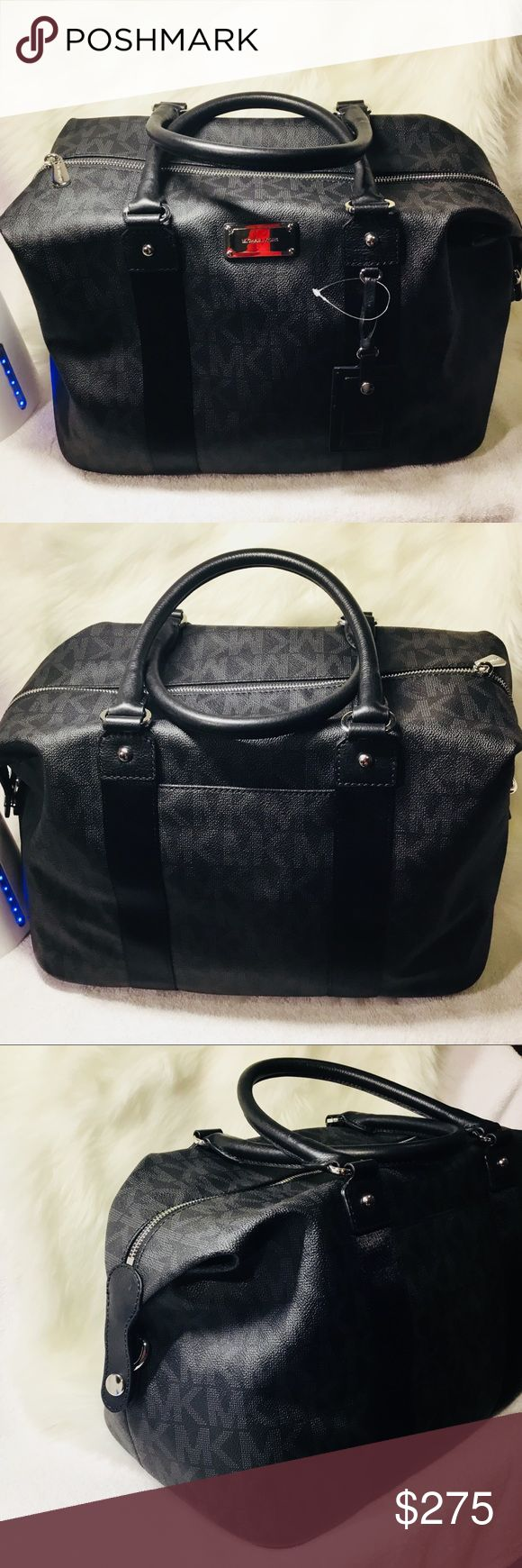 """Michael Kors Travel Large Weekender Black Bag Nice PVC coated, Trim and handles in black leather Dual rolled leather handles have 6"""" drop Removable and adjustable nylon shoulder strap with up to 26"""" drop Flat bottom with 4 silver tone feet Slip pocket on rear exterior Expandable sides Removable name/address tag Interior lining in tan signature fabric Top zipper closure with engraved pull 2 slip pockets on interior front wall 1 zipper pocket and 2 slip pockets on back wall Hardware is…"""
