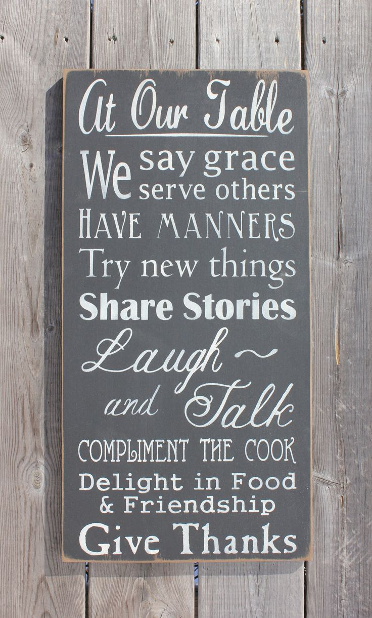 At Our Table.....sign made by The Primitive Shed, St. Catharines
