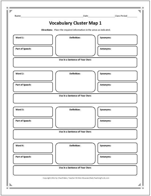 Frayer Model Diagram 1970 Chevelle Radio Wiring These Free Graphic Organizers Include Note Taking Charts, Vocabulary Webs, Author Study Maps ...