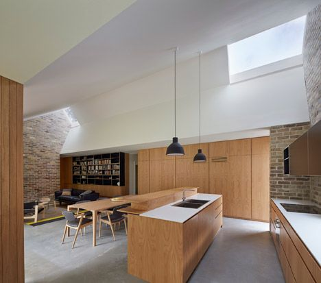 Timber + white kitchen, timber table w timber/grey chairs, black pendants over island