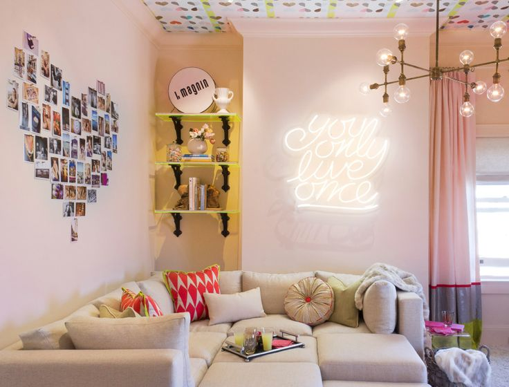 Teen Hang Out Room   Modern   Family Room   San Francisco   EM DESIGN  INTERIORS Like The Shaped Photo Wall And Lighted Words. Just Wouldnu0027t Have  It Say Yolo
