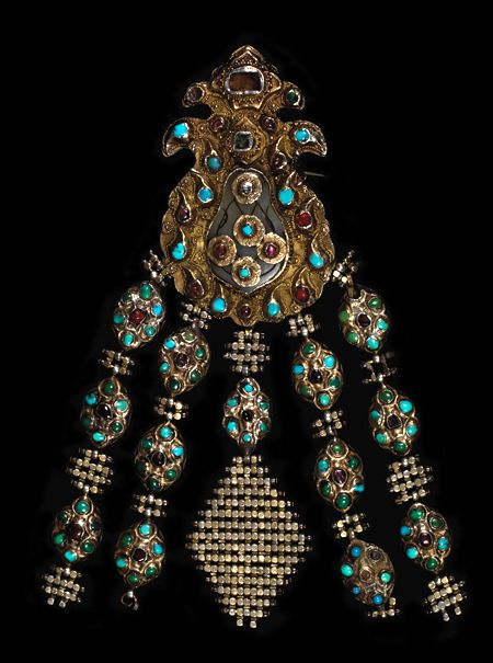 Turkey | Ottoman period pendant/brooch; Gilded silver set with turquoise and glass cabochons | ca. 18th century