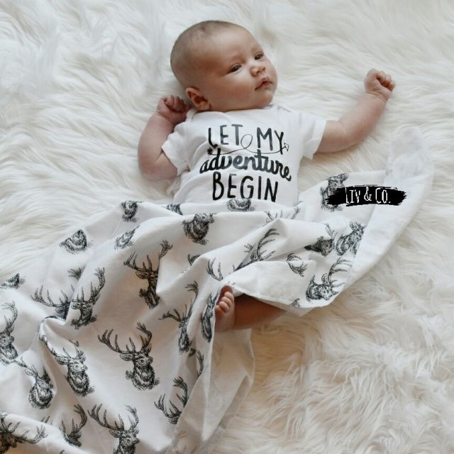 """Handmade 32x32deer flannel baby swaddle blanket and """"Let My Adventure Begin"""" bodysuit, perfect for every future hunter and son of adventurers!   Free shipping in the USA!"""