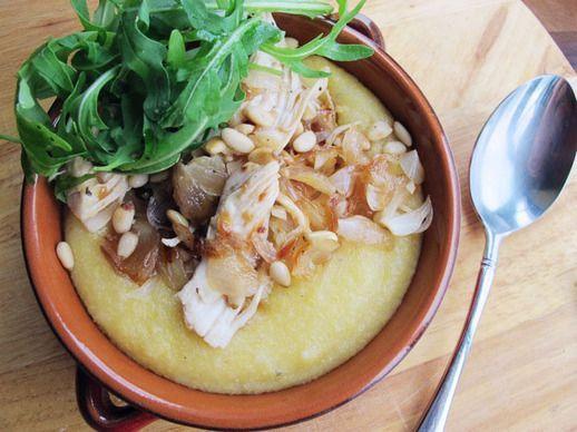 Creamy Polenta with Chicken, Caramelized Shallots, Arugula.