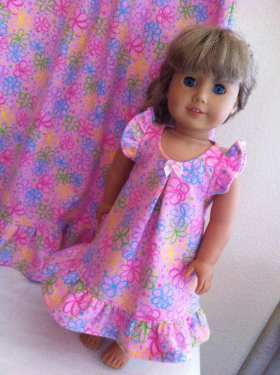 Custom Matching Nightgown Set for Child and American Girl or Bitty Baby Doll via Etsy