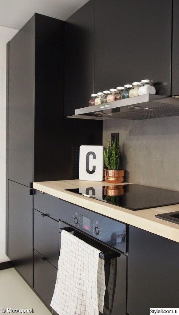 mikrosementti,välitila,mattamusta,keittiö,remontti,musta,keittiön pikkutavarat,keittiön tasot,mausteet,keittiön pinnat,uuni