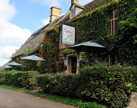 The Falkland Arms in the village of Great Tew in the Cotswolds of the English countryside.