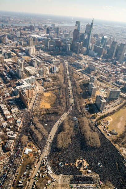 Fans crowd the streets to watch a Super Bowl victory parade for the Philadelphia Eagles NFL football team on February 8, 2018 in Philadelphia, Pennsylvania. The Eagles beat the New England Patriots 41-33 in Super Bowl 52.