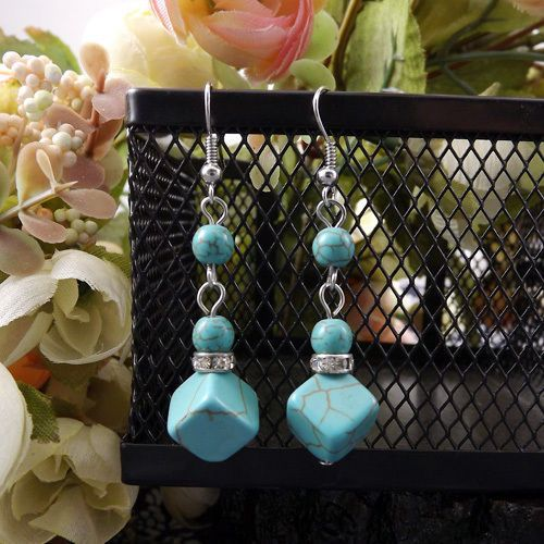 Contemporary New Tibetan Silver Turquoise Bead & Cube Dangle Drop Earrings #Handmade #DropDangle