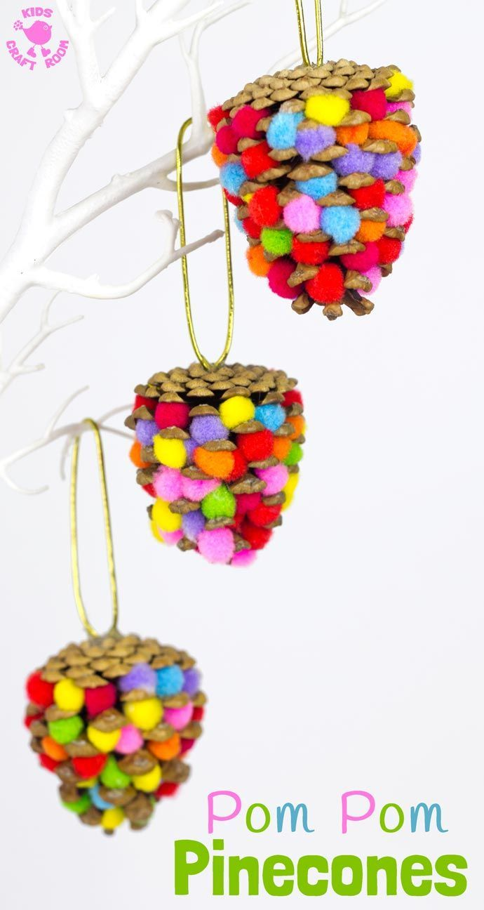 This colourful Pom Pom Pinecones craft for kids looks great! Use this nature craft to make Christmas ornaments or as pretty mobiles all year. There's even a fun idea for a colourful pinecone math game too.