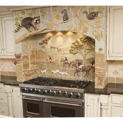 sculpted ceramic horse   tiles  | Transitional Tile from Gooseneck Designs, Model: Fox Hunt with ...