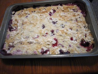 (Dessert) Lazy Girl Cobbler - Ingredients: Two 12-oz bags frozen mixed berries or peaches, 1 box white cake mix (no pudding), 1 can of 7-up or Clear soda  -- Instructions: 1) Place frozen fruit in a 9x13 baking dish. 2) Add dry cake mix over the top. 3) Pour soda slowly over cake mix. DO NOT stir the cake mix and the soda. 4) Bake 350 for 45-50 minutes. Makes 16 servings. Enjoy!