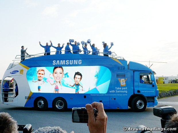 Samsung Relay Bus. Add Around The Rings on www.Twitter.com/AroundTheRings & www.Facebook.com/AroundTheRings for the latest info on the Olympics.