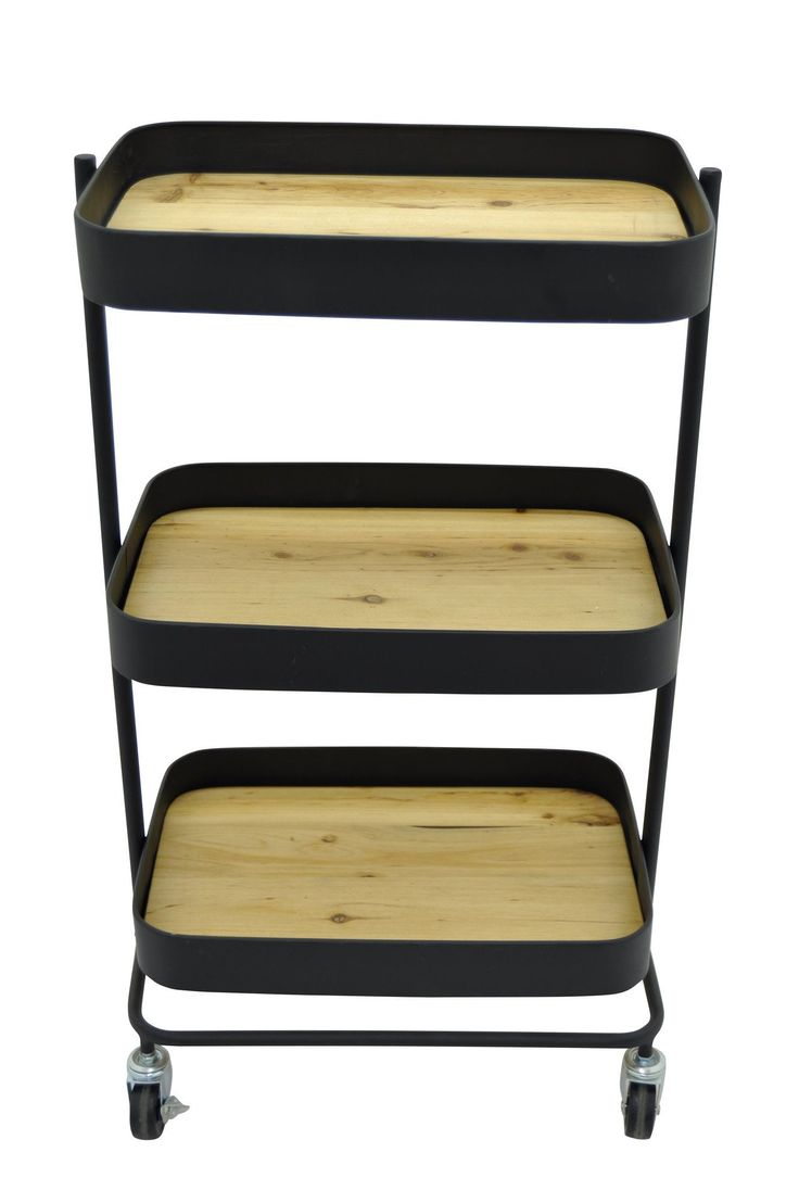 Metal and Wood Rolling Utility Cart