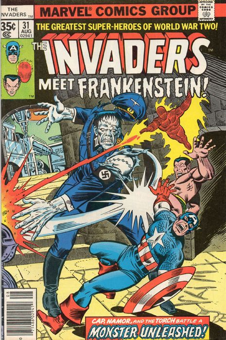 The Invaders #31. Frankenstein. Captain America. Namor. Human Torch