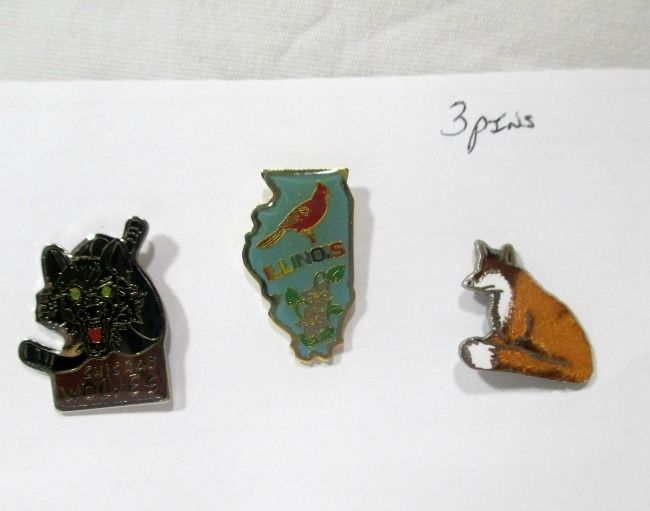 Illinois Souvenir Pins Chicago Wolves State Hat Lapel Hockey Collection of 3