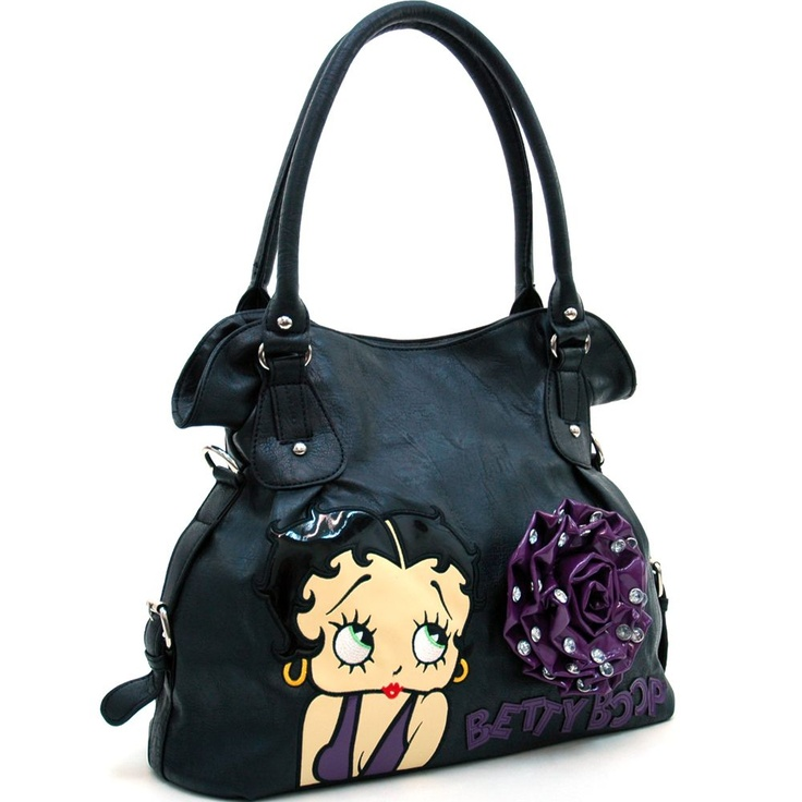 Betty Boop® Hobo Bag w/ Rhinestone Studded Rosette Accent (Purple)