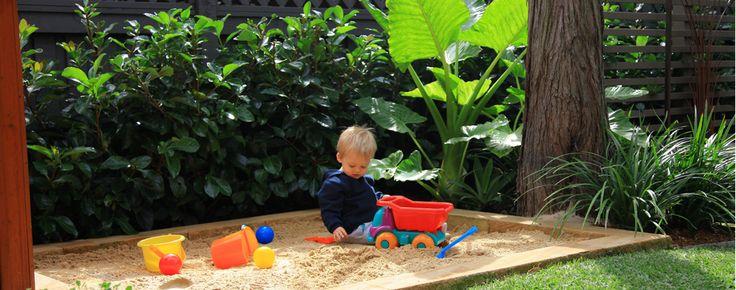 Landscape design with a sandpit for the kids