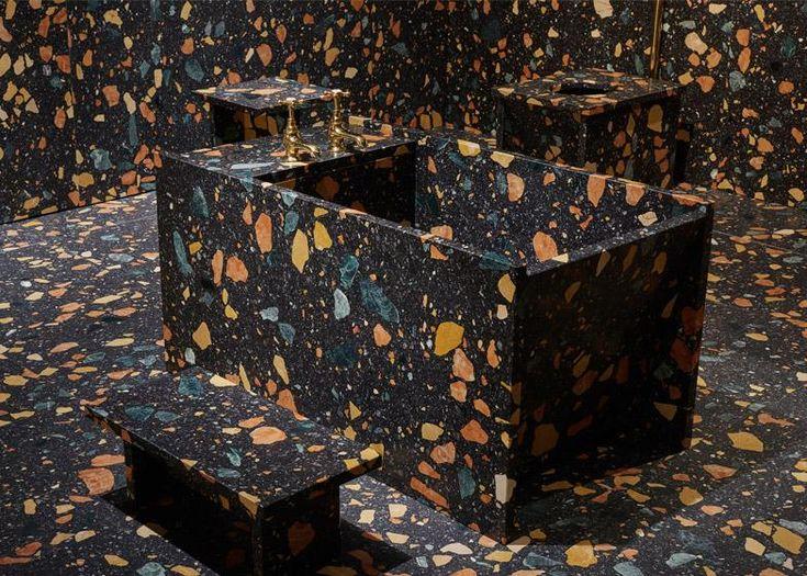 Multicoloured manmade-marble bathroom unveiled by British designer Max Lamb: http://www.dezeen.com/2015/06/19/max-lamb-bathroom-design-miami-basel-2015-marmoreal-furniture-installation/…