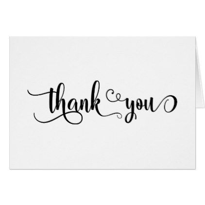 Fancy Script Letters Black & White Thakn You Thank You