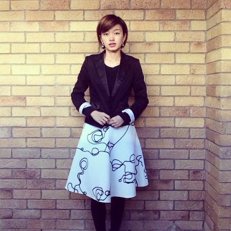 Today's look - love the skirt design from @laurenlostboys | jacket @portmans_ | skirt @backstageclothing | earings @theofficialpandora |  #corporatestyle #corporatefashion #corporatechic #ootd #lookoftheday #asianfashionmodel #workfashion #fashiongram #fashionandfeline #时装 #おしゃれ #fashioninspo #workwear #portmans #backstageclothing #australianfashionlabels #australianfashionblogger #whatiwore #lookoftheday #styleinspo #lookbook #fashionphotography #corporatewear #statementskirt #everydaystyle