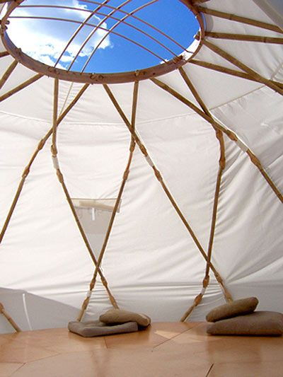 Yurt as a canopy for an intimate seating group -