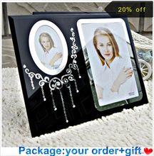 """Estilo europa 6 polegadas (4 """"x 6"""") Clear black Frame de Vidro Da Foto molduras decorativas pequenas molduras para foto artesanato em vidro(China (Mainland))"""