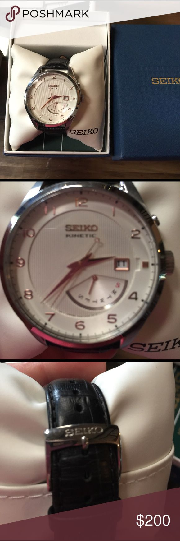 Men's Seiko athletic watch NEW in box with tags Brand new. Next day shipping. Leather band Seiko Accessories Watches