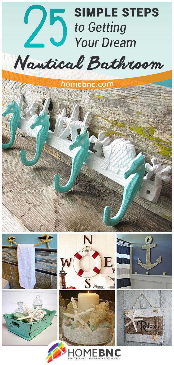 25 easy DIY ideas to create a relaxing nautical-themed bathroom. #bathroom #nauticaltheme #homedecor