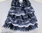 Classic black and white lace jabot