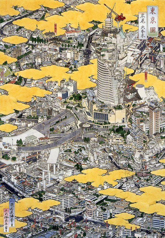 by Akira Yamaguchi, Japan 山口  晃: Cityscapes, Akira Yamaguchi, Art Drawing, Yamaguchi Akira, Japan Artists, Yamaguchi 山口晃, Maps Illustration Japan, Architecture Drawing, Eye