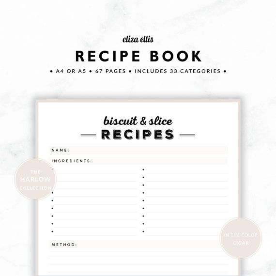 PLANNER ESSENTIALS - RECIPE BOOK - THE HARLOW PLANNERS IN CIGAR  Create your own family recipe book! Keep all your beautiful heirloom recipes and family favorites together so you can easily find them when you need them - and pass them down to future generations! Featuring 33 sections (each with a follower), you can print as many of each page as you need, whenever you need!  > SPEND $20 AND GET 20% OFF!!! JUST USE CODE PERFECTPLANNER  > FEATURES  ▪️ loads of sections so you can