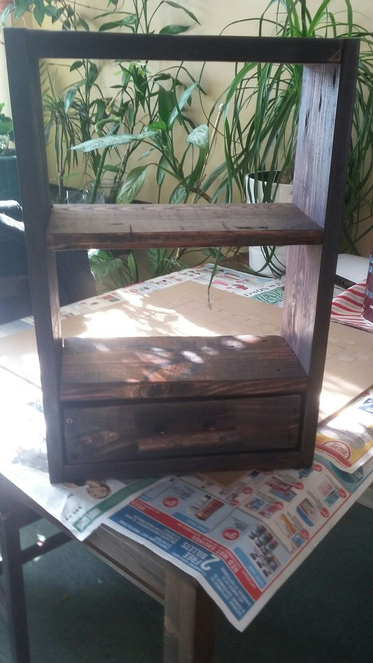 little wall cabinet with drawer 20 inches high 13 1/2 wide and 5 1/2 deep made from pallet wood  $ 50.00