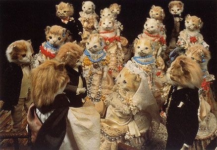 Taxidermy Cats... There are some sick puppies out there.: Cat, Animal Things, Alice Parties, Beatrix Potter, Du Curio, Walter Potter, Kittens, Curio Cabinets, Teas Parties
