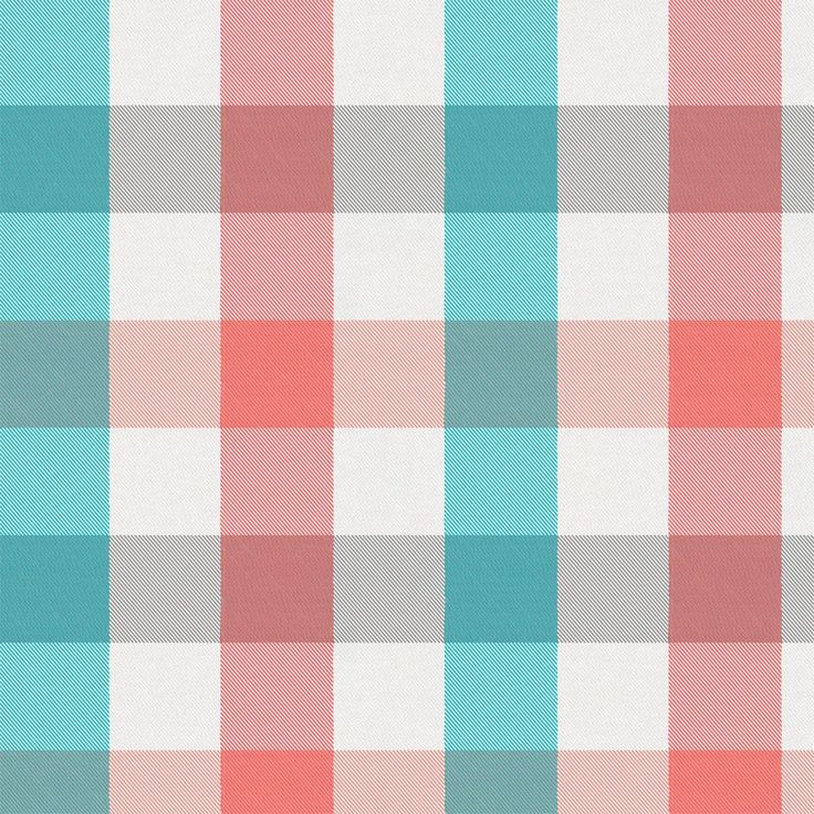 Coral and Teal Buffalo Check Fabric by Carousel Designs.