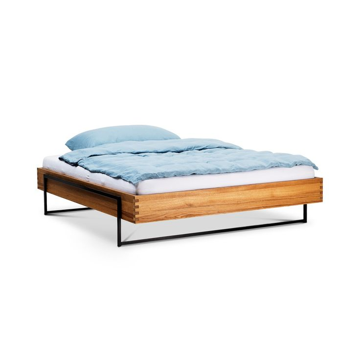 Superb Bett DON Eiche Metall lackiert Eiche