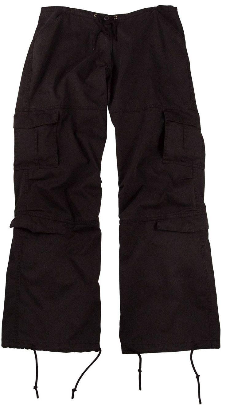 Black Ladies Women's Vintage Paratrooper Tactical Bdu Fatigue Pants 3986