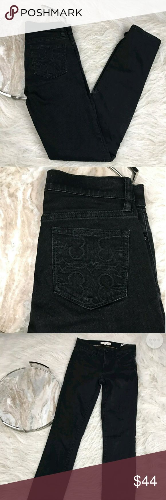 "Tory Burch Stretch Super Skinny Jeans Tory Burch Signature black super skinny jeans stretch denim jeans. Womens size 25. Gently used, without flaws. See pictures for details.  Waist laying flat - 13"" Rise - 8"" Inseam - 33""  Inventory 04252017 Tory Burch Pants Skinny"
